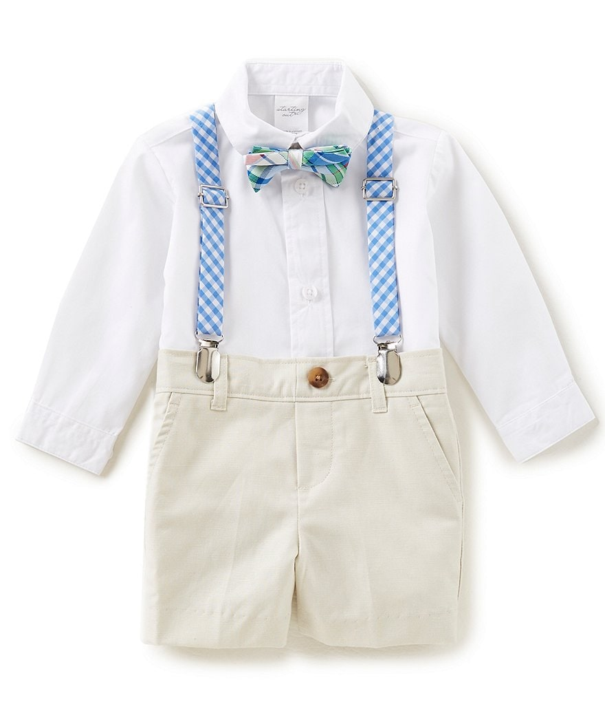 Starting Out Baby Boys 3-24 Months Button-Down Shirt, Shorts, Bow-Tie & Suspenders, 4-Piece Set