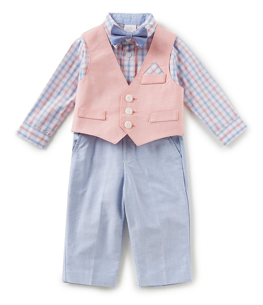 Starting Out Baby Boys 3-24 Months Plaid Button-Down Shirt, Vest, & Pants 3-Piece Set