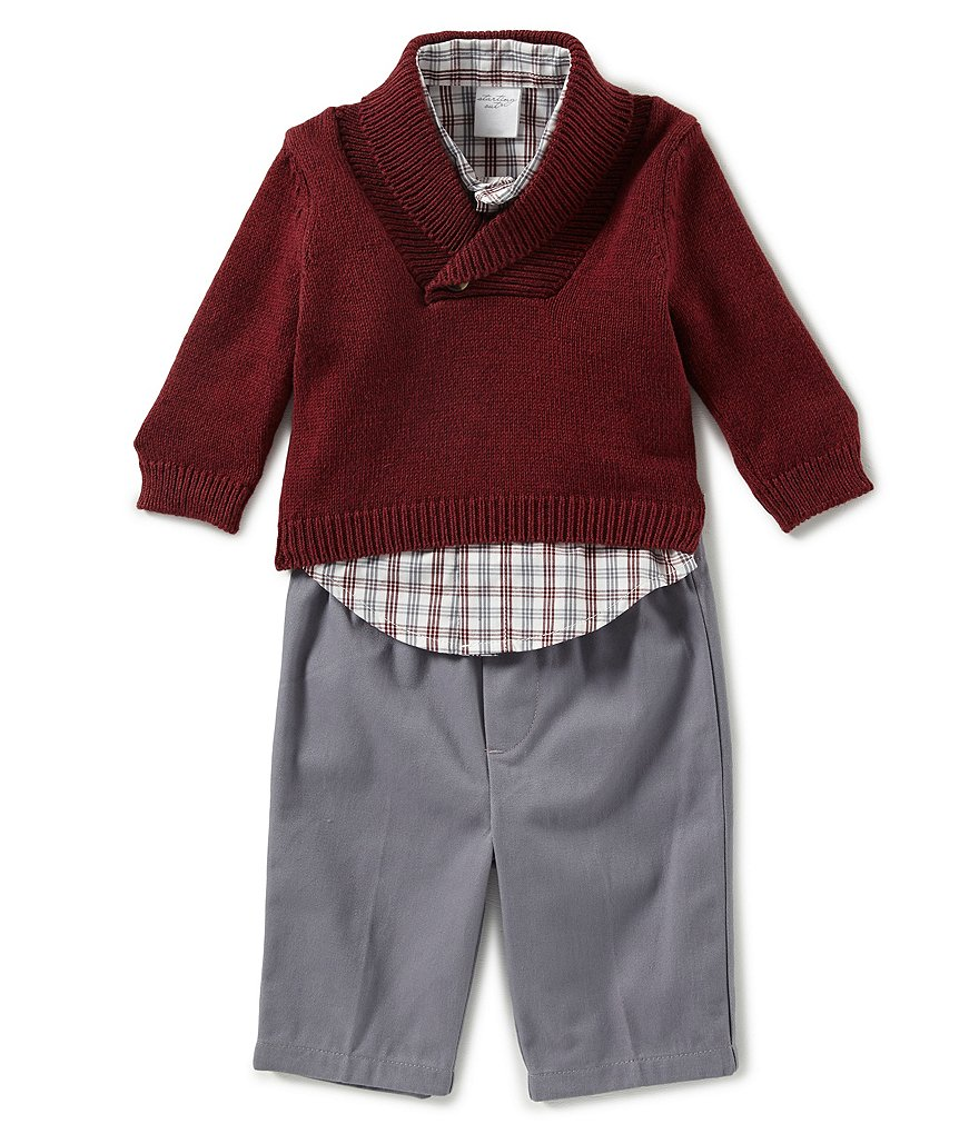 Starting Out Baby Boys 3 24 Months Sweater Plaid Dress Shirt