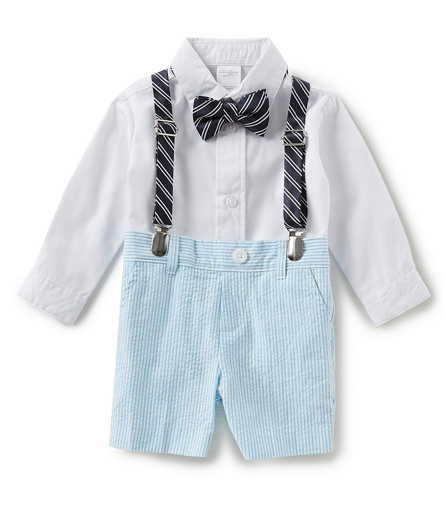 Starting Out Baby Boys 3-9 Months Button-Down Shirt, Seersucker Shorts, Suspenders & Bow-Tie Set