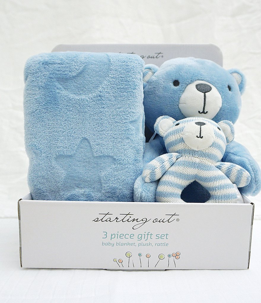 Starting Out Baby Boys Blanket, Rattle, & Plush Bear 3-Piece Set