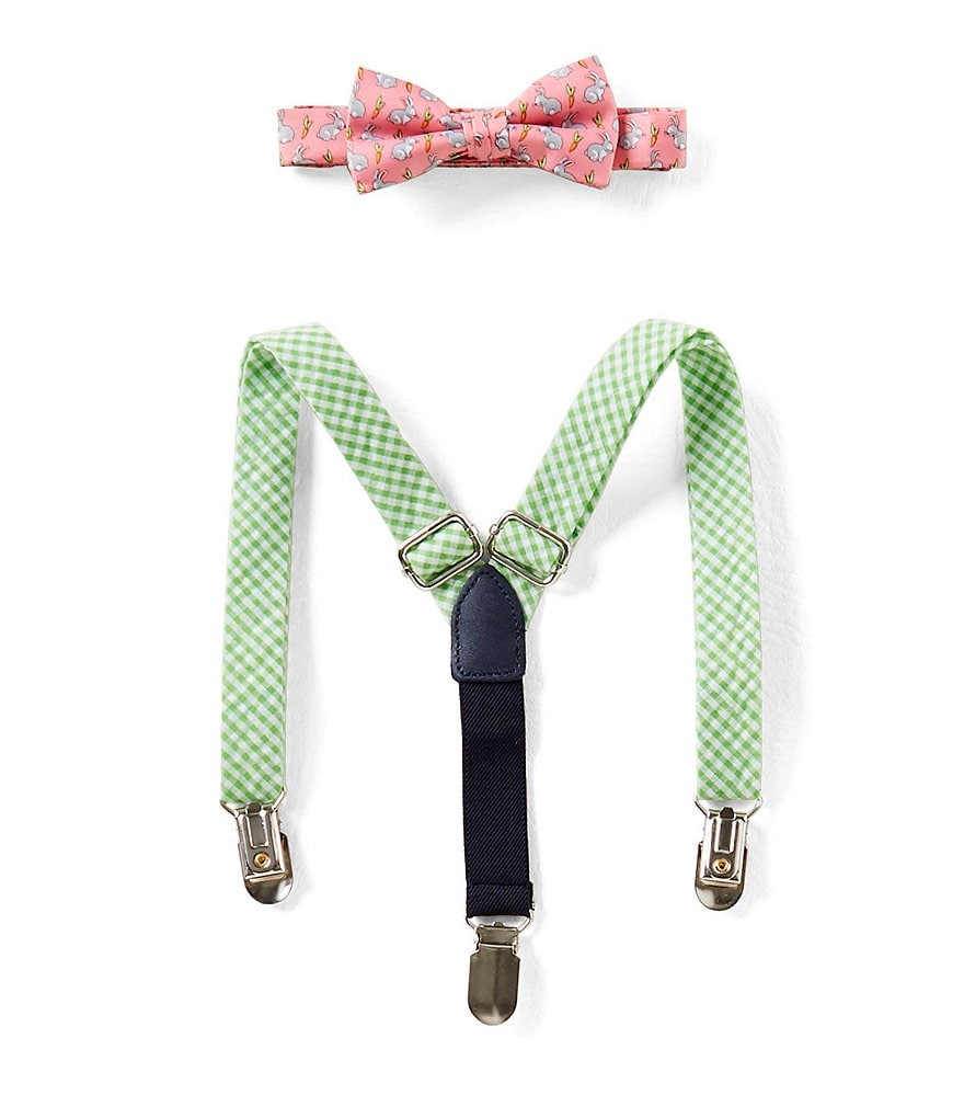 Starting Out Baby Boys Easter Bunny-Print Bow Tie & Suspenders Set