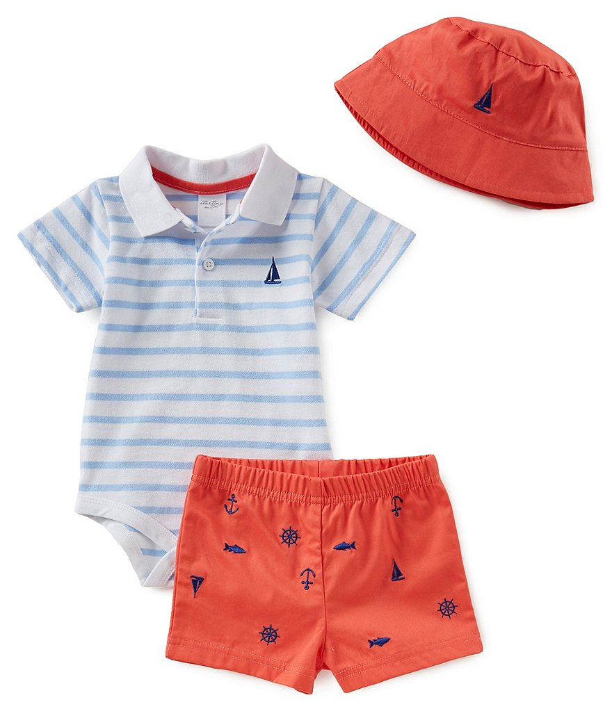 Starting Out Baby Boys Newborn - 3 Months Sailboat Polo and Short Set