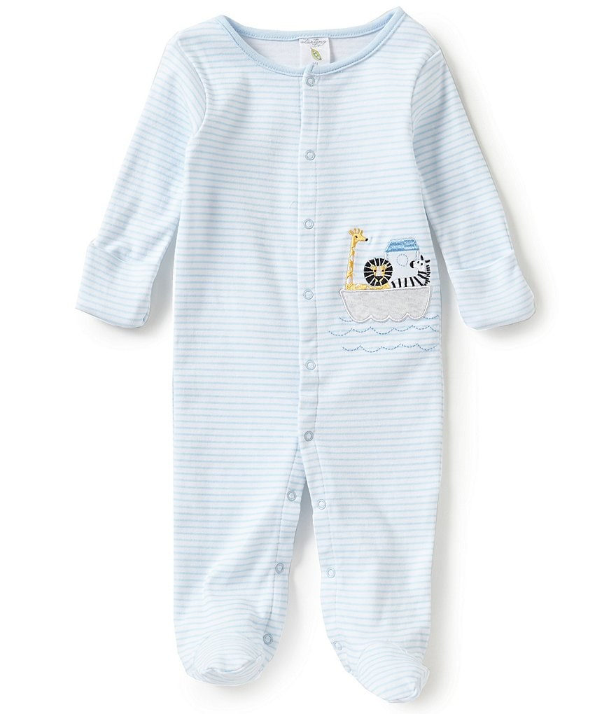 Starting Out Baby Boys Newborn-6 Months Striped Animal Ark Footed Coverall