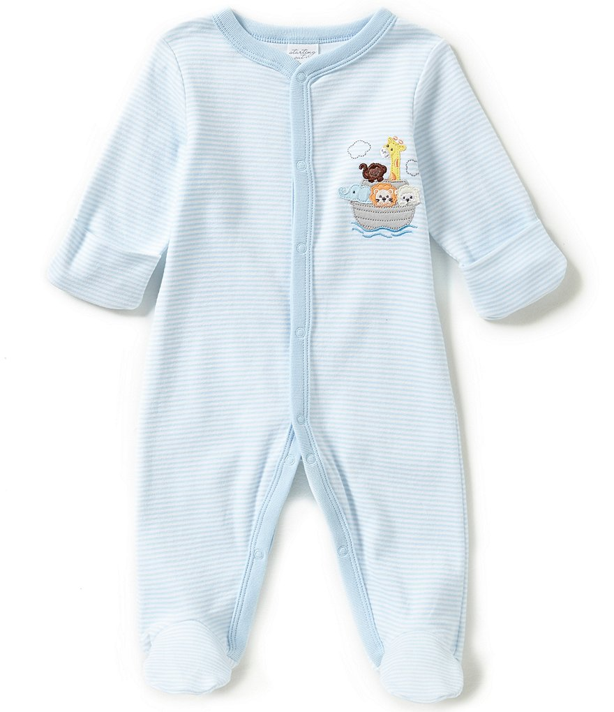 Starting Out Baby Boys Newborn-6 Months Striped Noah´s Ark Coveralls