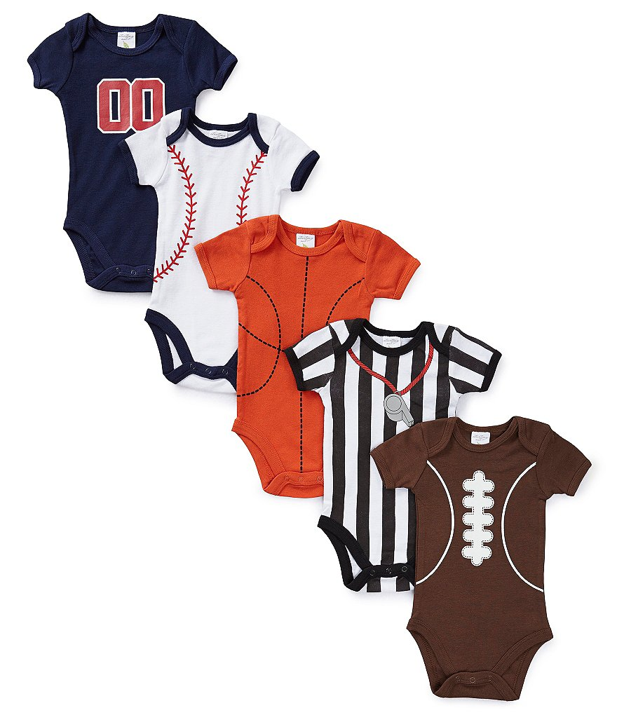 Starting Out Baby Boys Newborn-6 Months Sports Bodysuits 5-Pack