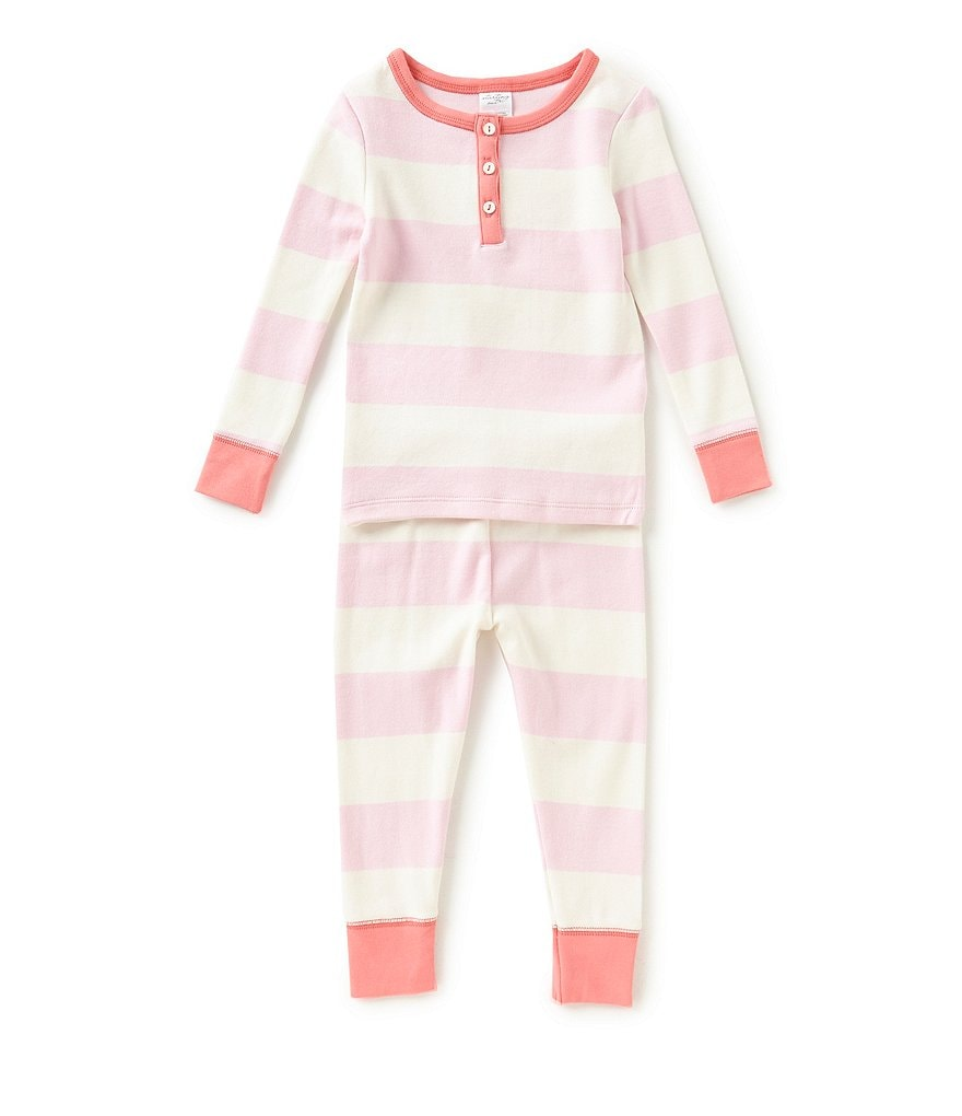 Starting Out Baby Girls 12-24 Months Striped Henley Top & Pants Pajama Set