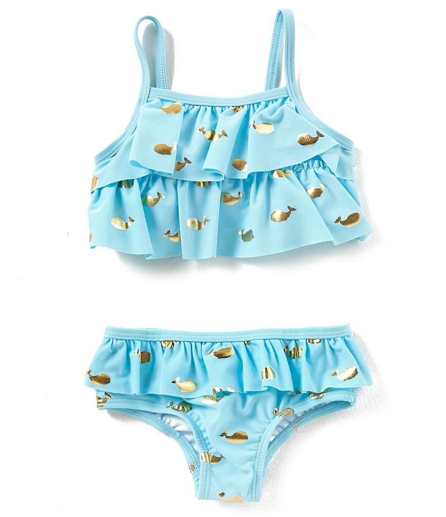 Starting Out Baby Girls 12-24 Months Whale Print 2-Piece Swimsuit