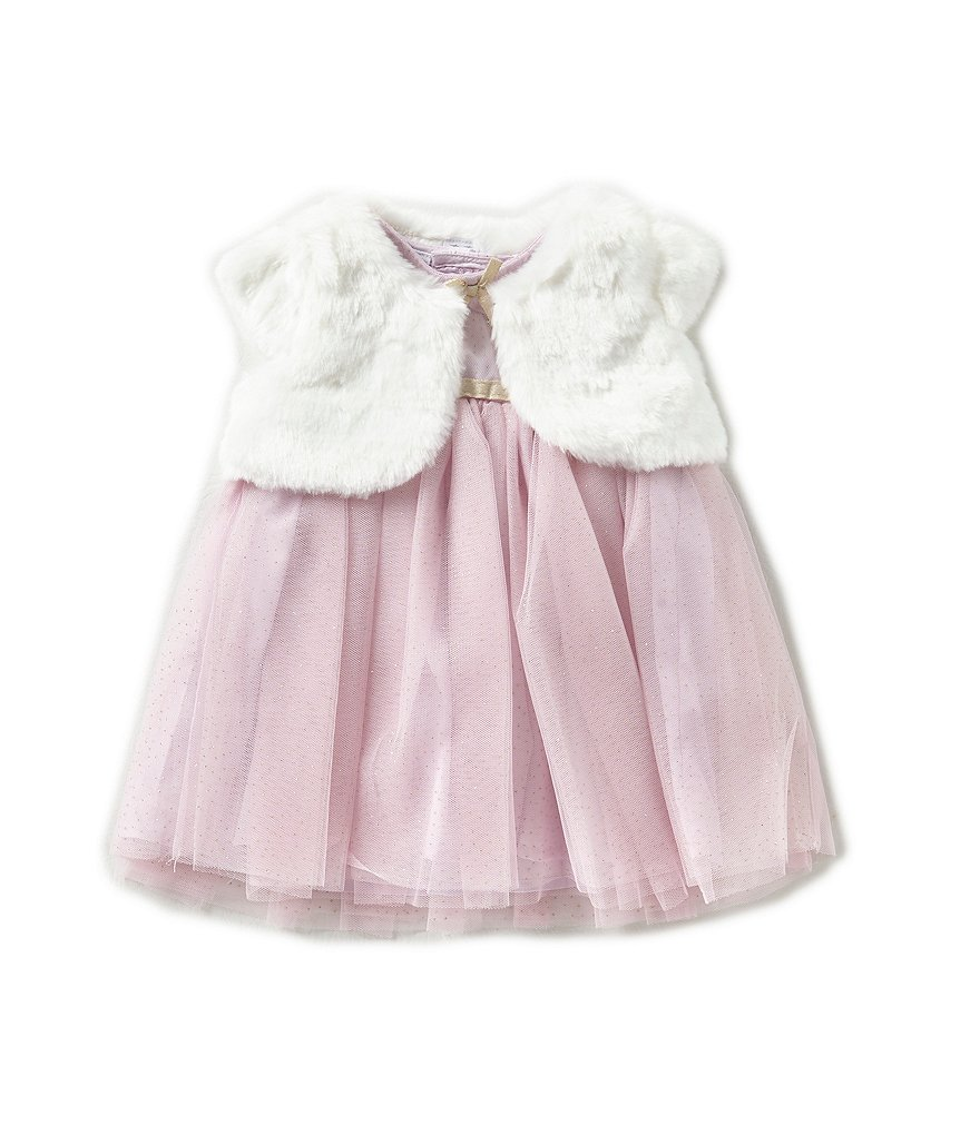 Starting Out Baby Girls 3-24 Months Faux-Fur Bolero Coat & Dress Set