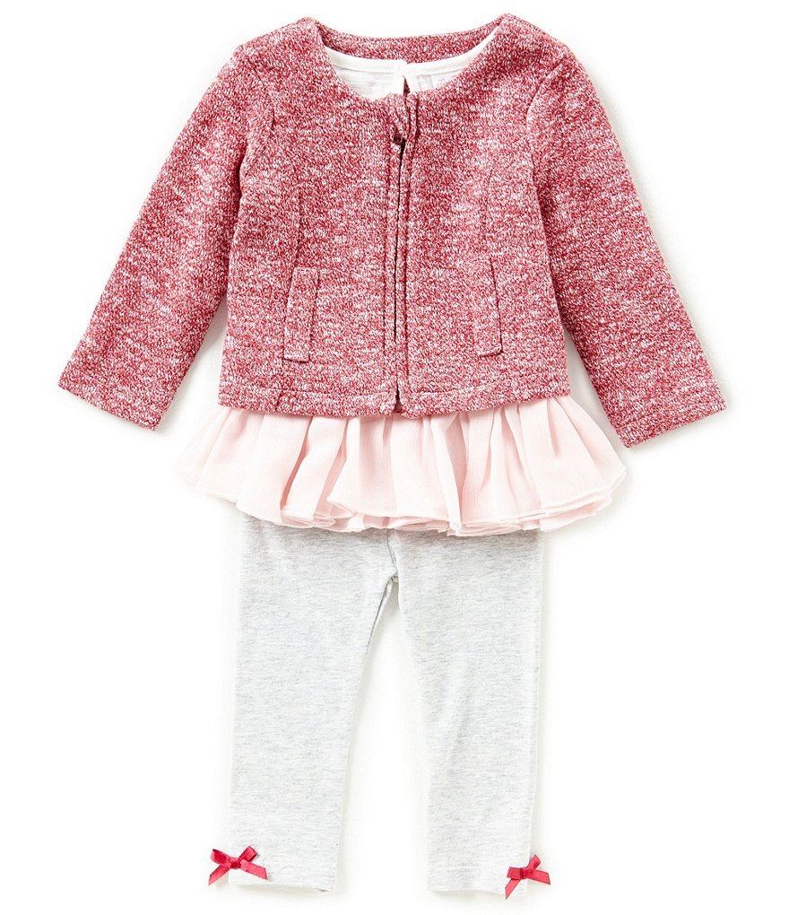 Starting Out Baby Girls 3-24 Months Zip-Front Sweater, Ruffle Top, & Leggings 3-Piece Set
