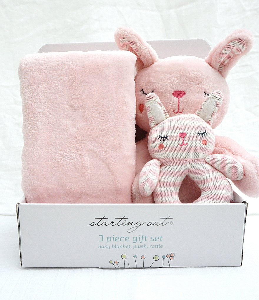 Starting Out Baby Girls Blanket, Rattle, & Plush Bunny 3-Piece Set
