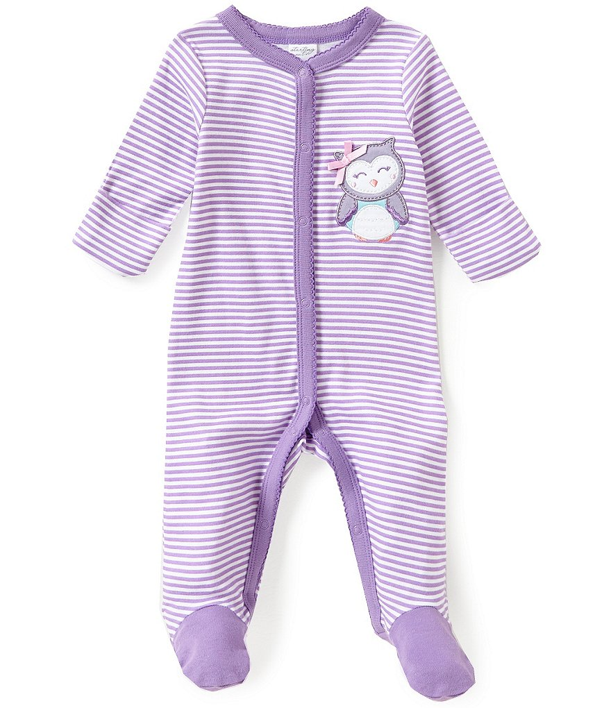 Starting Out Baby Girls Newborn-6 Months Owl-Appliqued Striped Footed Coverall