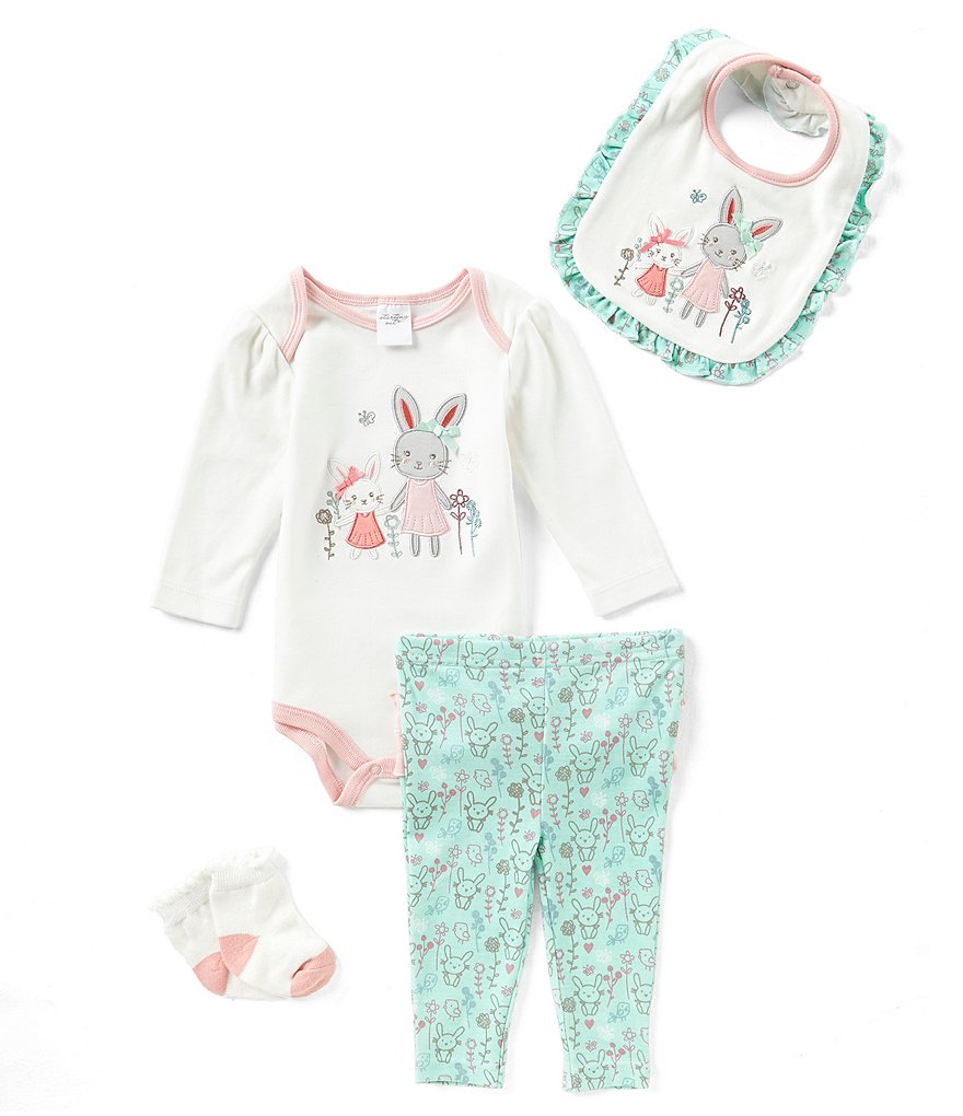 Starting Out Baby Girls Newborn-9 Months Bunny 4-Piece Layette Set