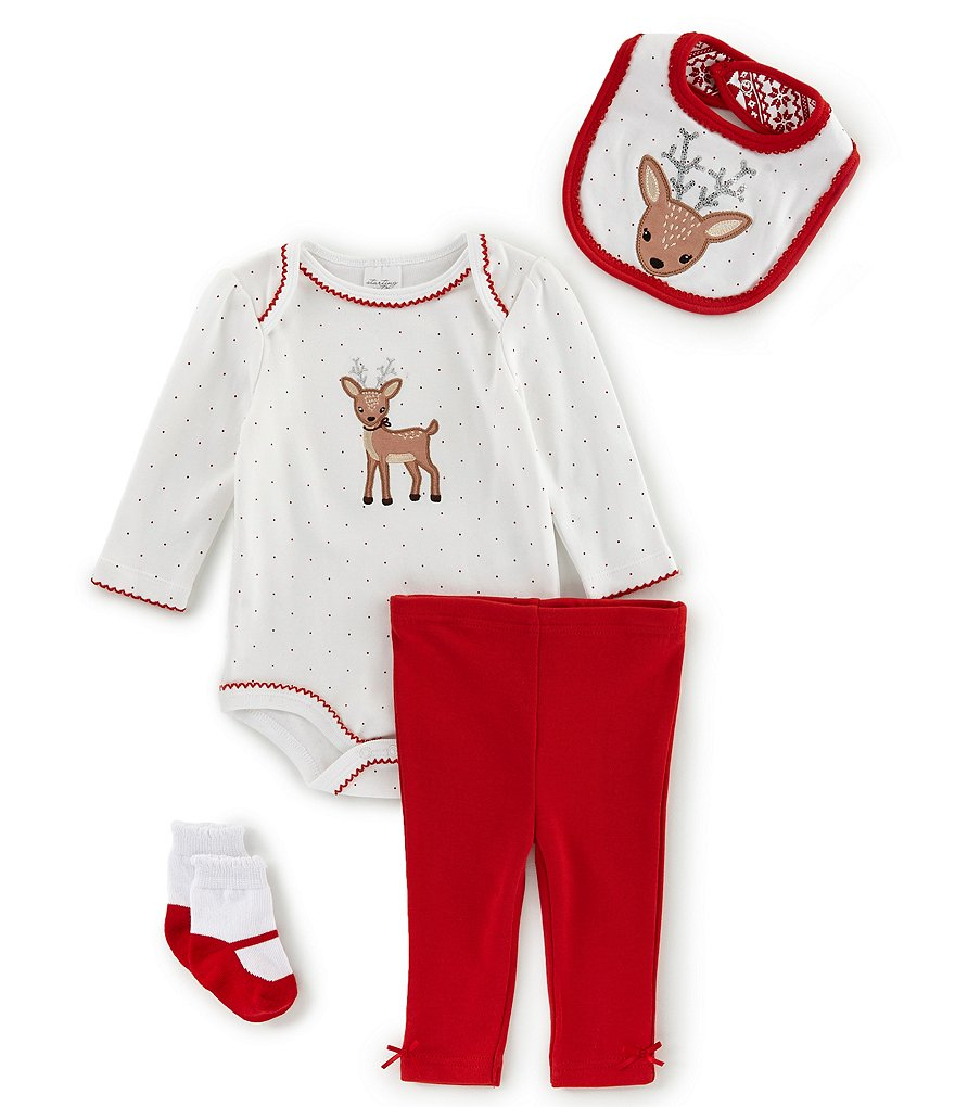Starting Out Baby Girls Newborn-9 Months Deer Bib,Bodysuit, Pants & Sock 4-Piece Layette Set