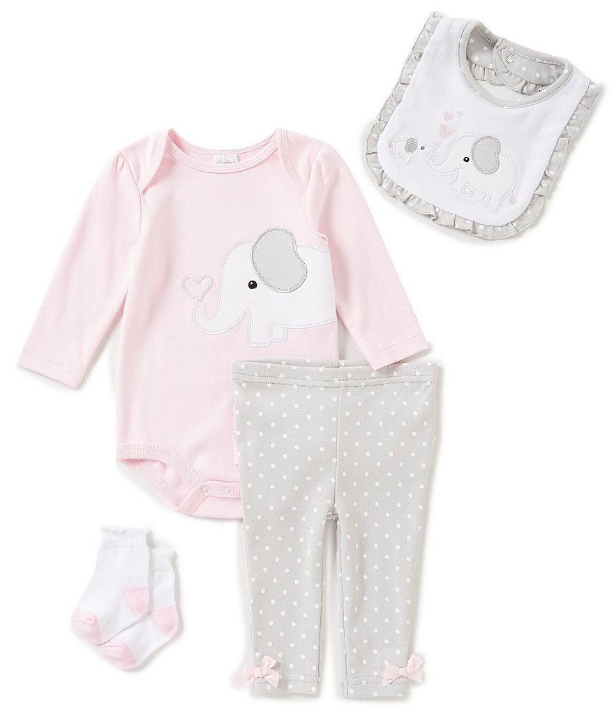 Starting Out Baby Girls Newborn-9 Months Dotted Elephant-Applique 4-Piece Layette Set