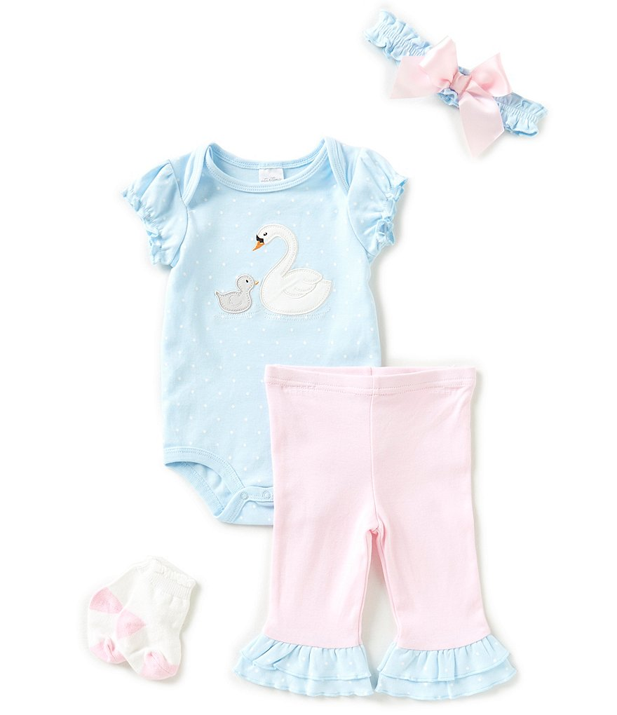Starting Out Baby Girls Newborn-9 Months Dotted Swan 4-Piece Layette Set