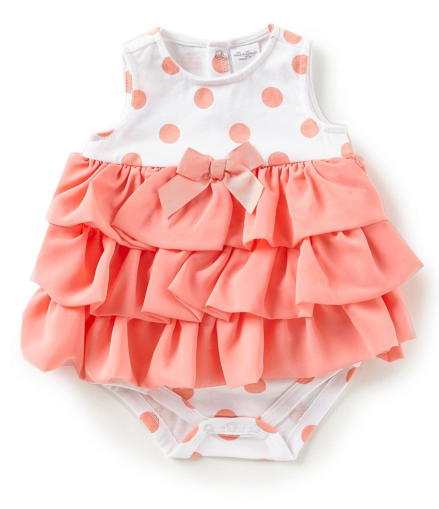 Starting Out Baby Girls Newborn-9 Months Dotted Tiered-Ruffle Bodysuit
