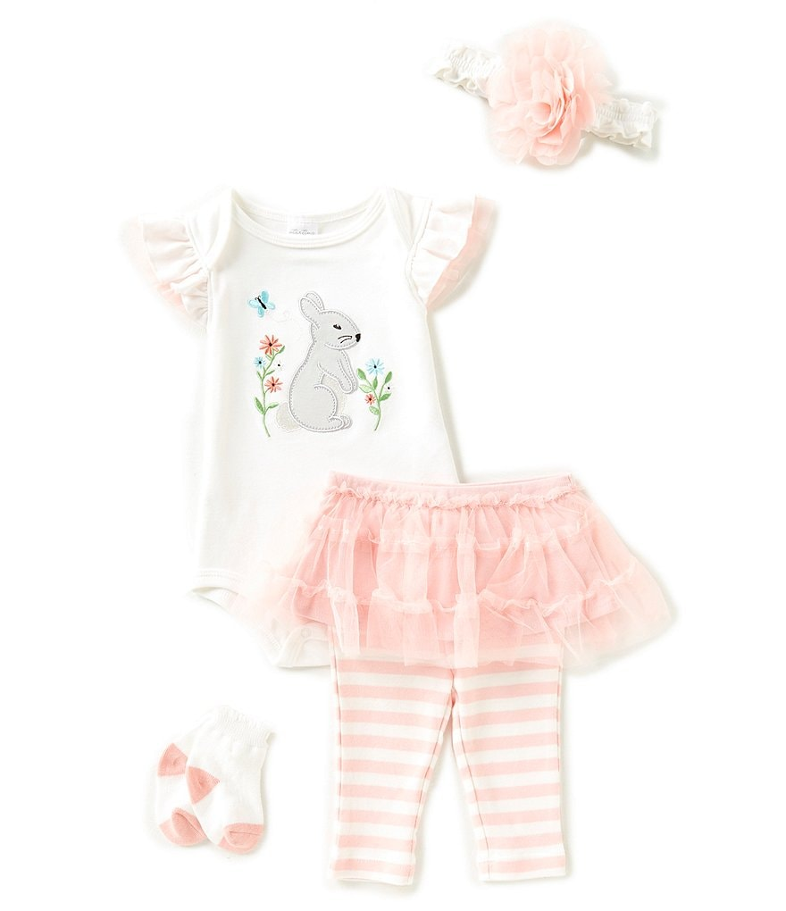 Starting Out Baby Girls Newborn-9 Months Floral Bunny Tutu 4-Piece Layette Set