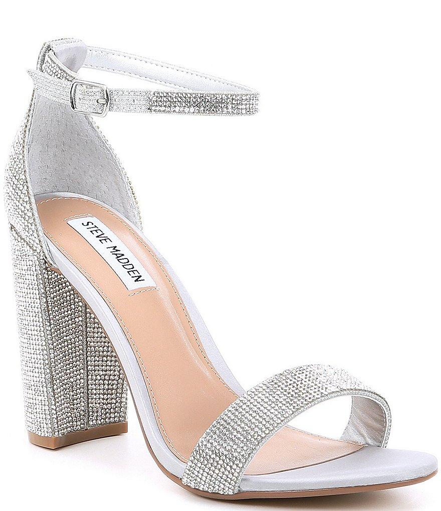 Block Dress Sandals Steve Madden Carrson Rhinestone Strap Heel Ankle XiuOPkZ