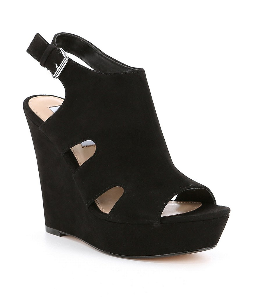 Steve Madden Emmy Suede Buckle Closure Wedges