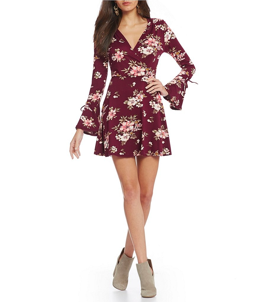 Stillettos Floral-Printed Bell Sleeve Faux-Wrap Dress