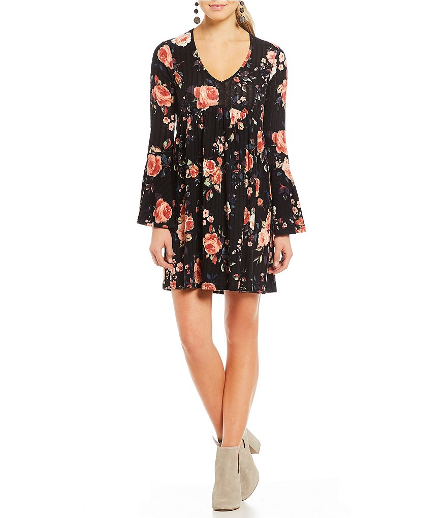 Stilletto's Floral-Printed Bell Sleeve Swing Dress