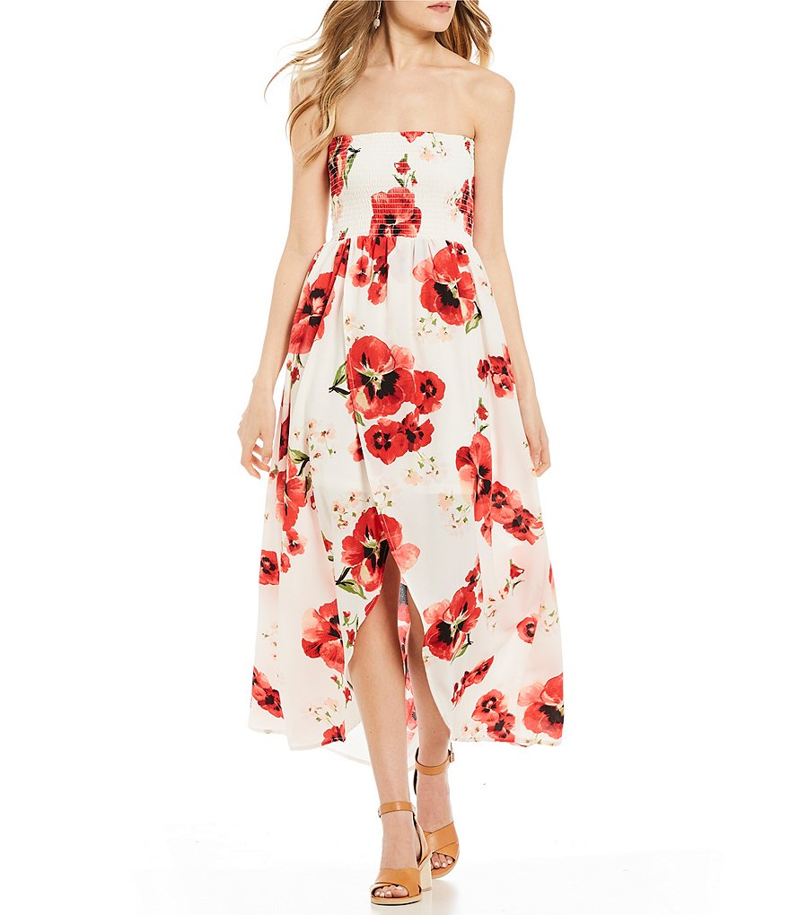 Stilletto's Floral Smocked Faux Wrap Strapless Maxi Dress