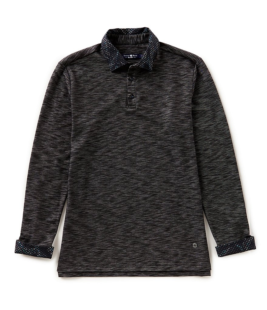 Stone Rose Flame Knit Long-Sleeve Polo Shirt