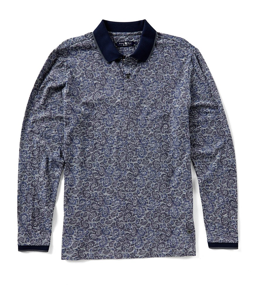Stone Rose Paisley Print Long-Sleeve Polo Shirt
