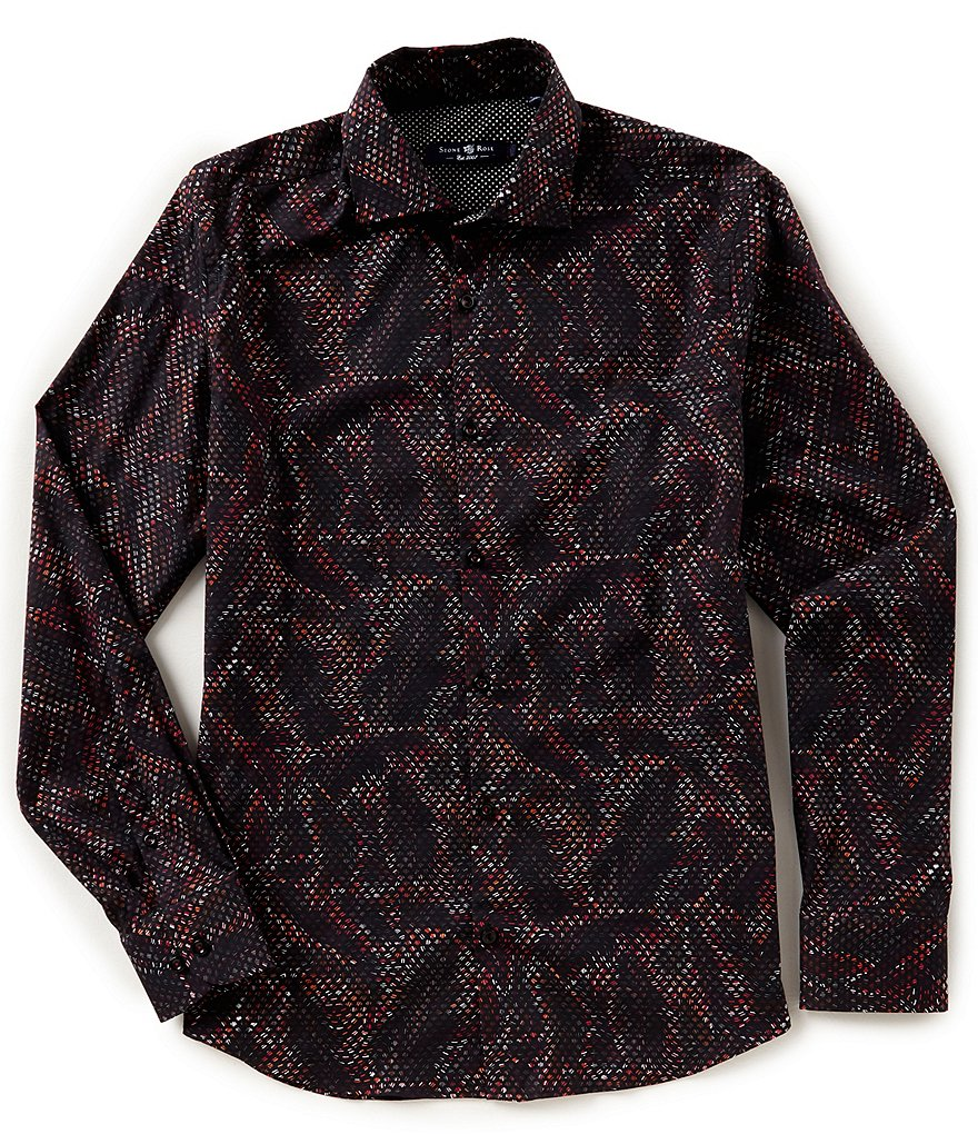 Stone Rose Scale Print Stretch Long-Sleeve Woven Shirt