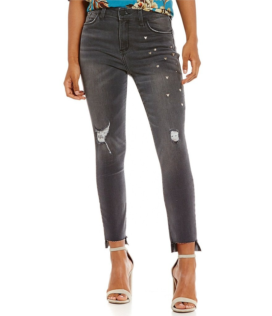 STS Blue Ashley Destructed High Rise Studded Straight-Leg Jeans