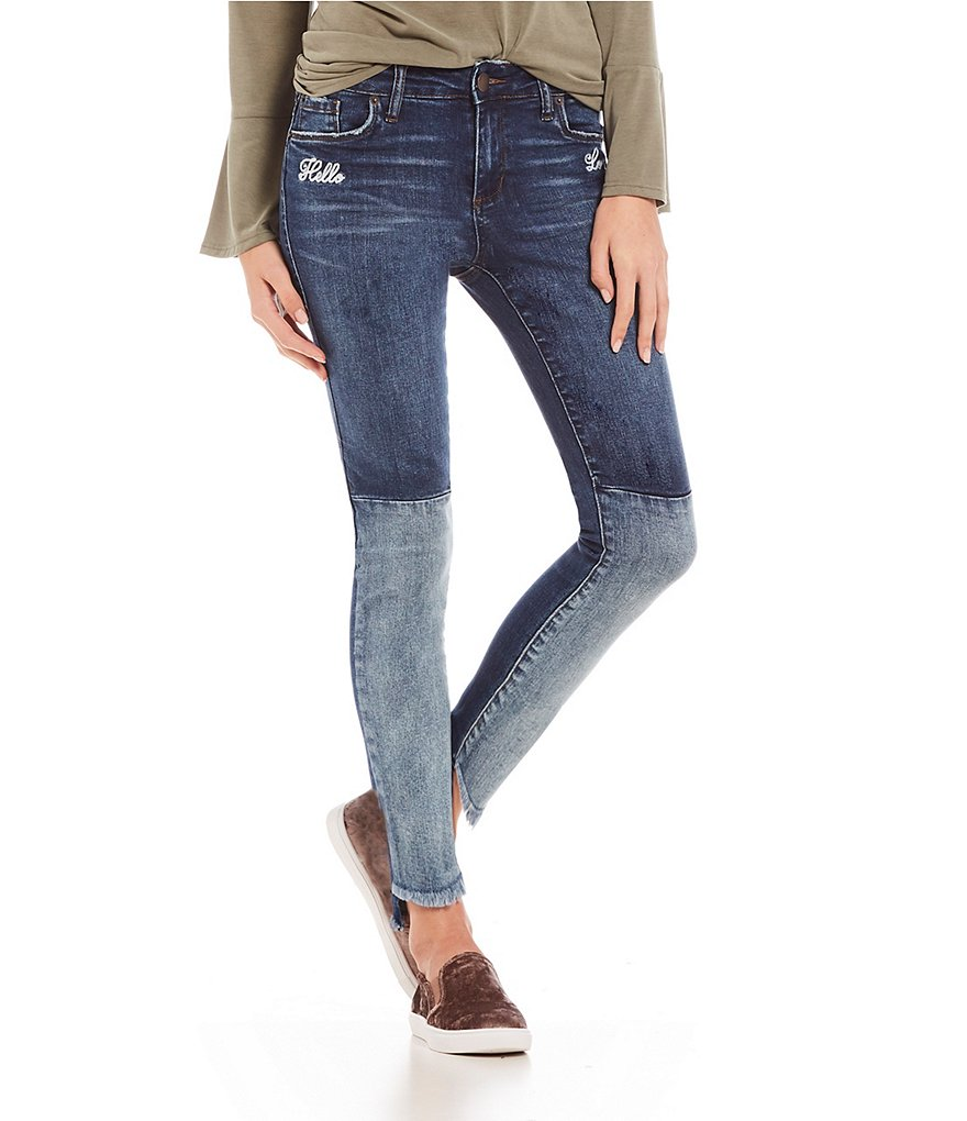 STS Blue Piper #double;Hello Lover#double; Embroidered Frayed Step Hem Skinny Jeans