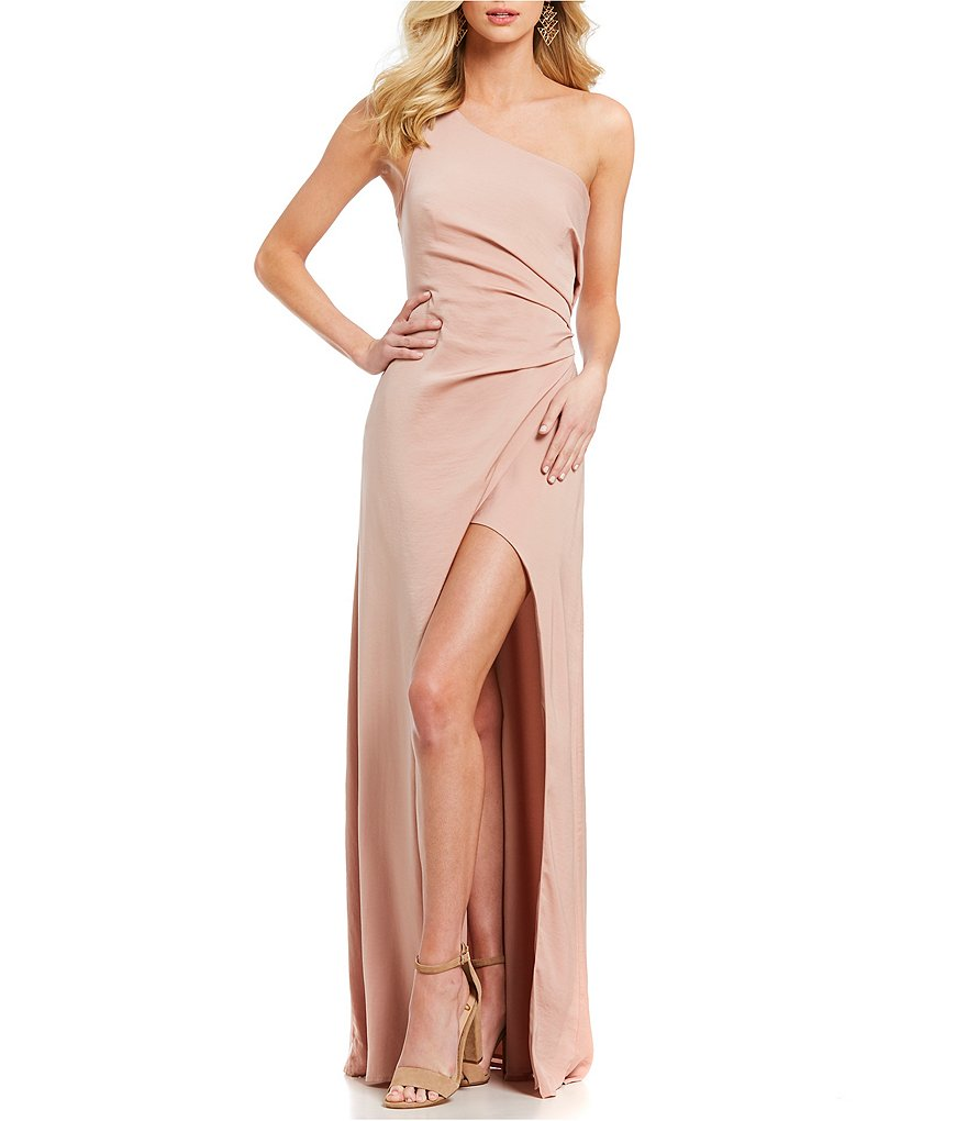 STYLESTALKER Liordana Blush Pink One Shoulder Gown