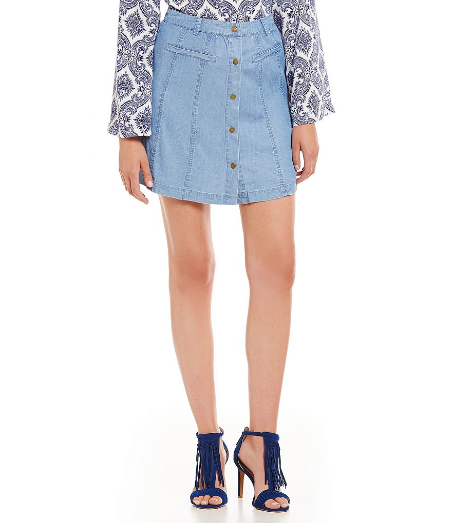 Sugarlips Button-Front Denim Skirt