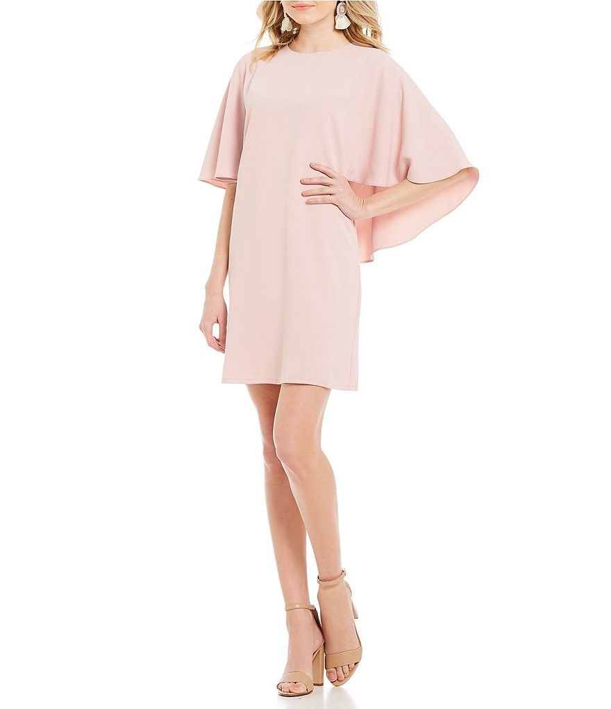 Sugarlips Blush Pink Cape Sleeve Shift Dress