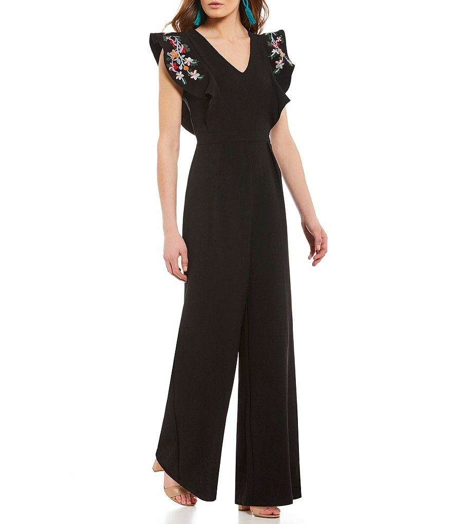 Sugarlips Dil Embroidered Flutter Sleeve Jumpsuit
