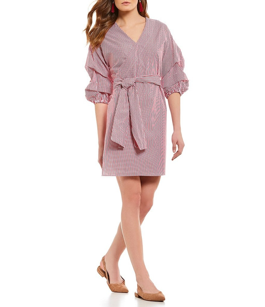 Sugarlips Dil Ruched Bubble Sleeve Tie Front Novelty Shirting Wrap Dress