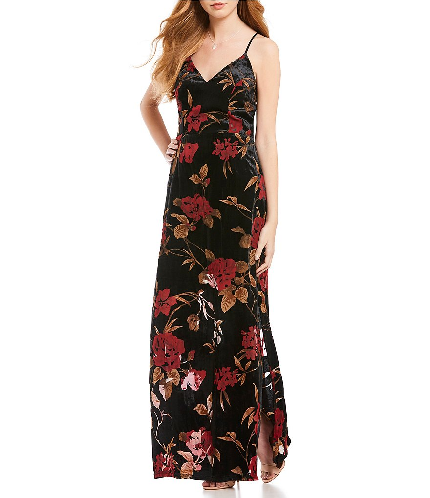 Sugarlips Floral Velvet Maxi Dress
