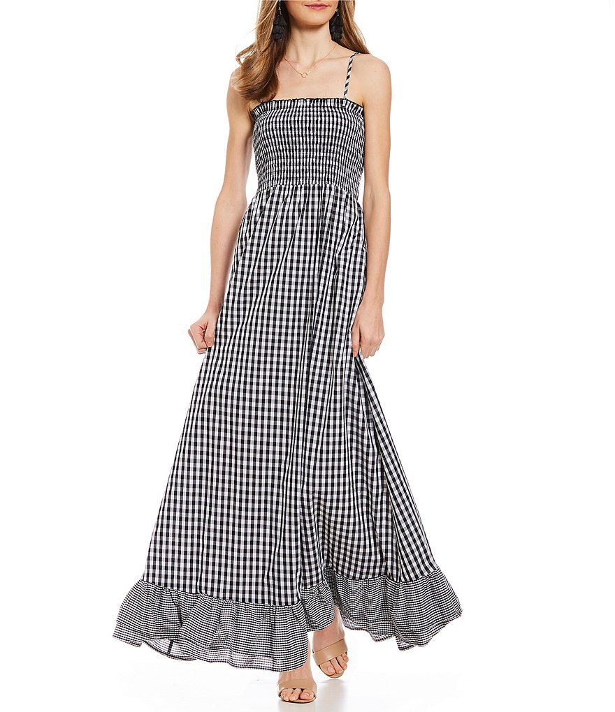 Sugarlips Gingham Ruched Maxi Dress