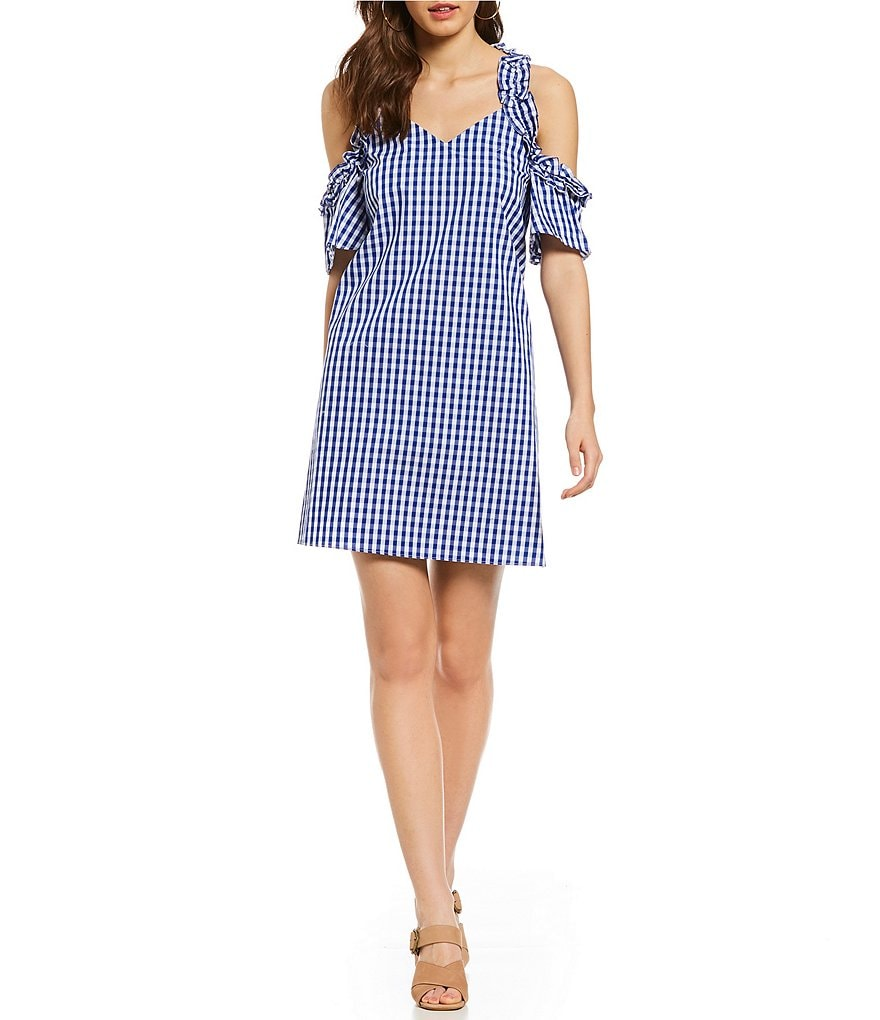 Sugarlips Gingham Ruffle Cold Shoulder Shift Dress