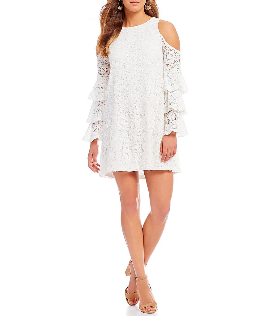 Sugarlips Langley Tiered Cold Shoulder Bell Sleeve Lace Shift Dress