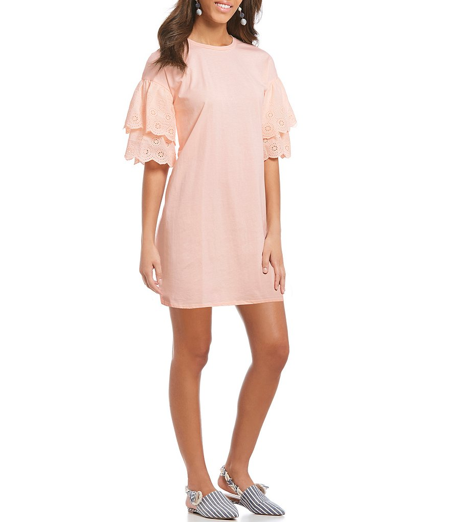 Sugarlips Blush Pink Tiered Eyelet Ruffle Sleeve Shift Dress
