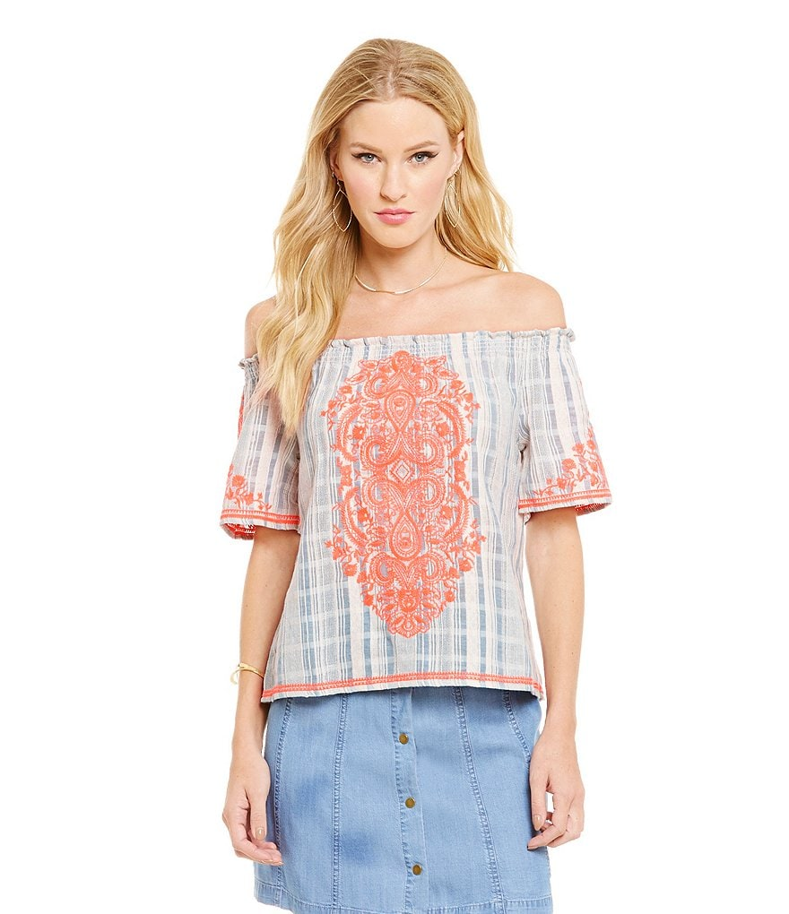 Sugarlips Off-the-Shoulder Embroidered Top