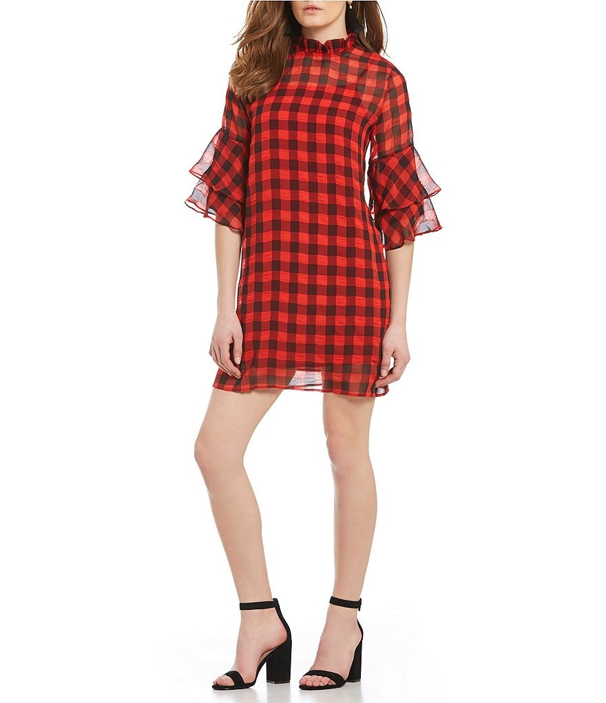 Sugarlips Riley Red Plaid Ruffle Bell Sleeve Shift Dress