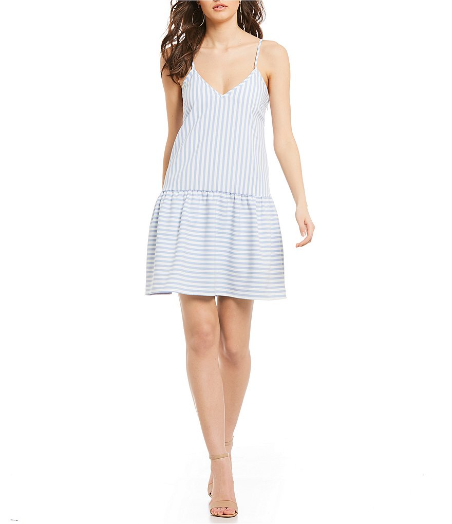 Sugarlips Stripe Drop Waist Ruffle Dress