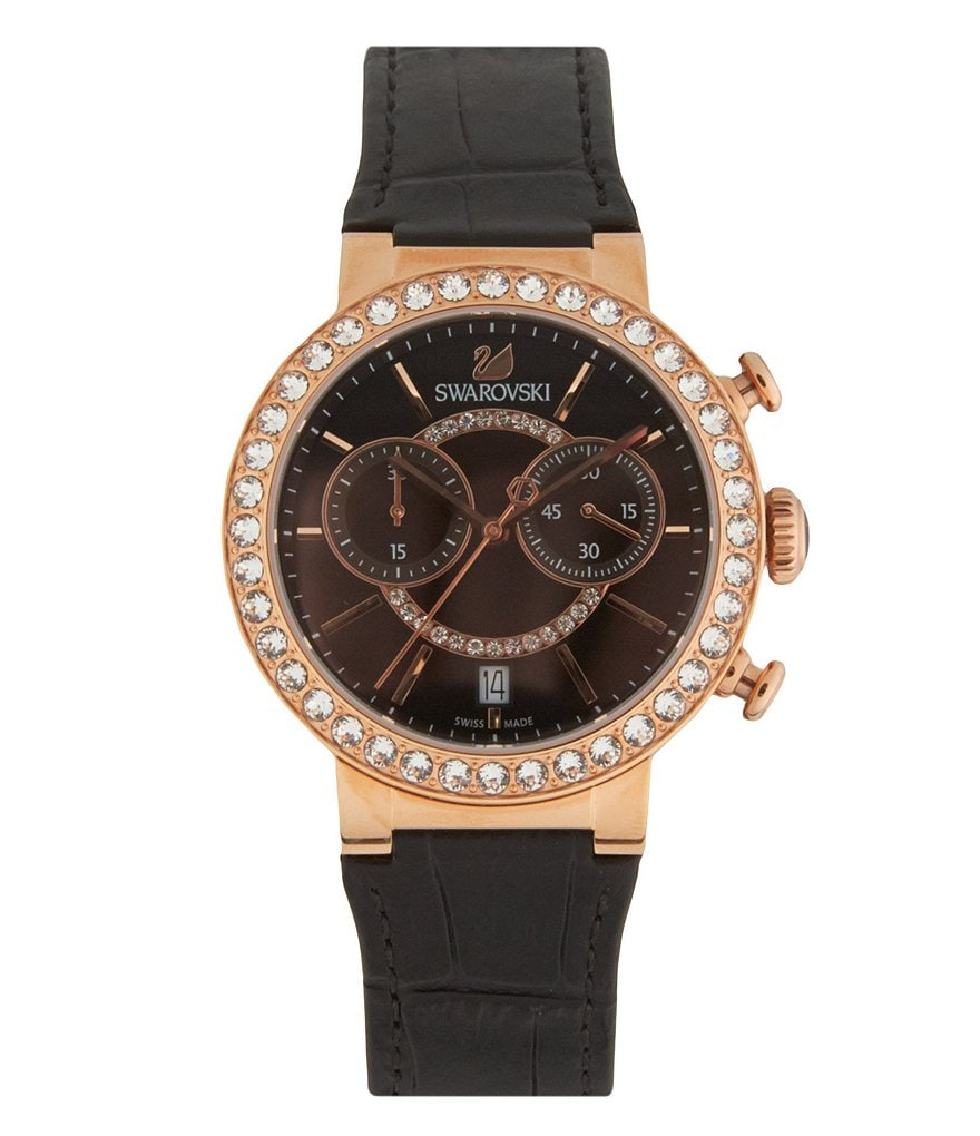 Swarovski Citra Sphere Crystal Chronograph & Date Leather-Strap Watch