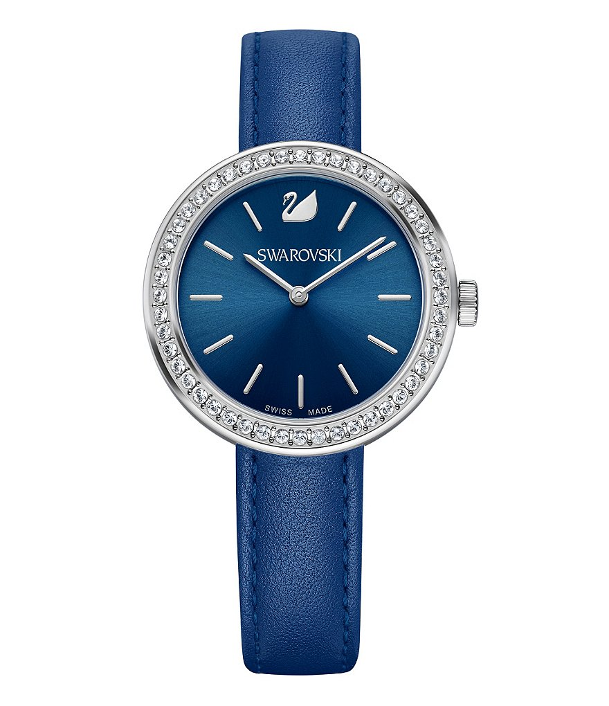 Swarovski Daytime Crystal Analog Leather-Strap Watch