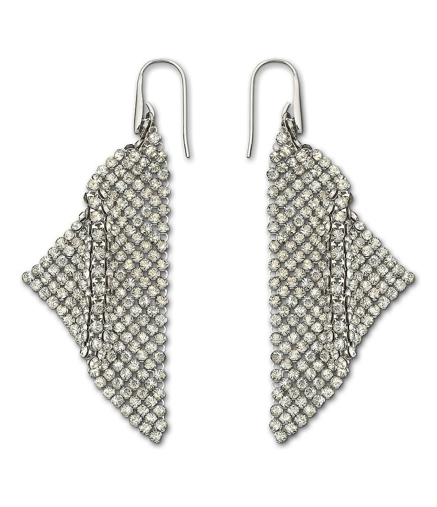 Swarovski Fit Silver Shade Mesh Statement Earrings