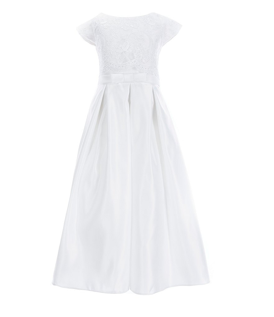 Sweet Kids Big Girls 7-16 Lace/Satin Pocketed A-Line Dress