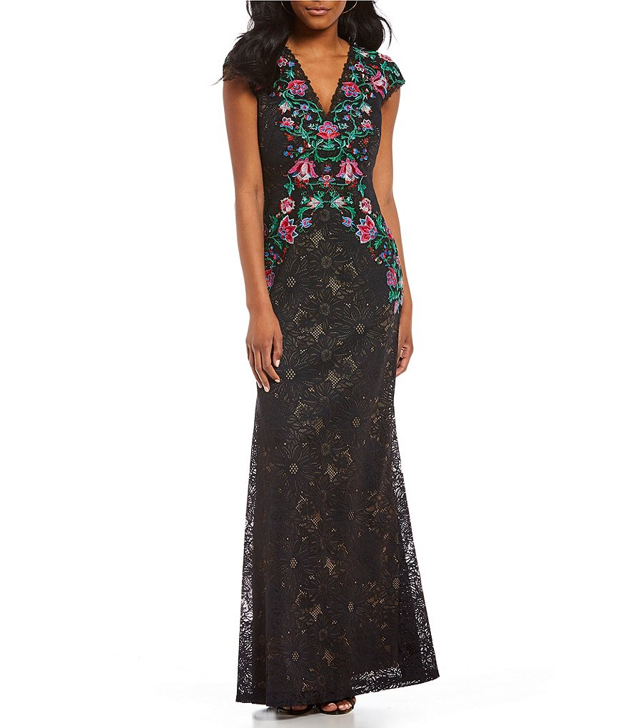 Tadashi Shoji Floral Embroidered Lace Gown